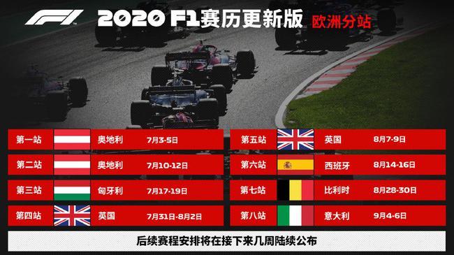 2020赛季F1更新版赛历(欧洲分站)正式公布