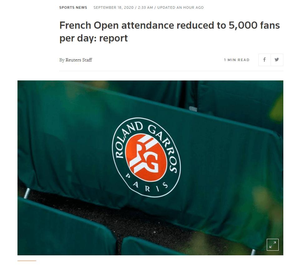 2020赛季网球大满贯法国公开赛 现场观赛球迷数减半