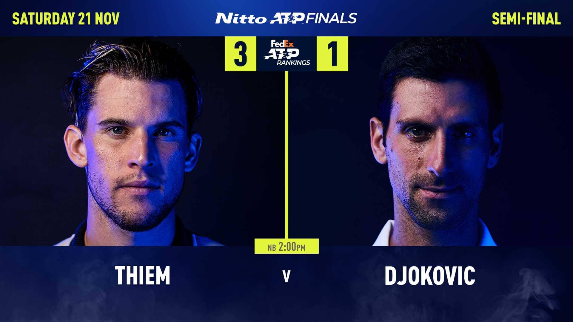 ATP年终总决赛半决赛德约对战蒂姆,今年有望复仇