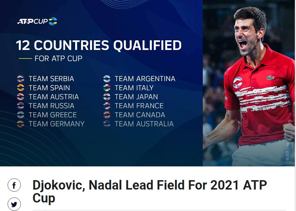 2021年ATP杯纳达尔德约领衔出战,三巨头独缺费德勒