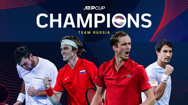 俄罗斯队夺2021年ATP杯总冠军,梅德韦杰夫赢得14场连胜