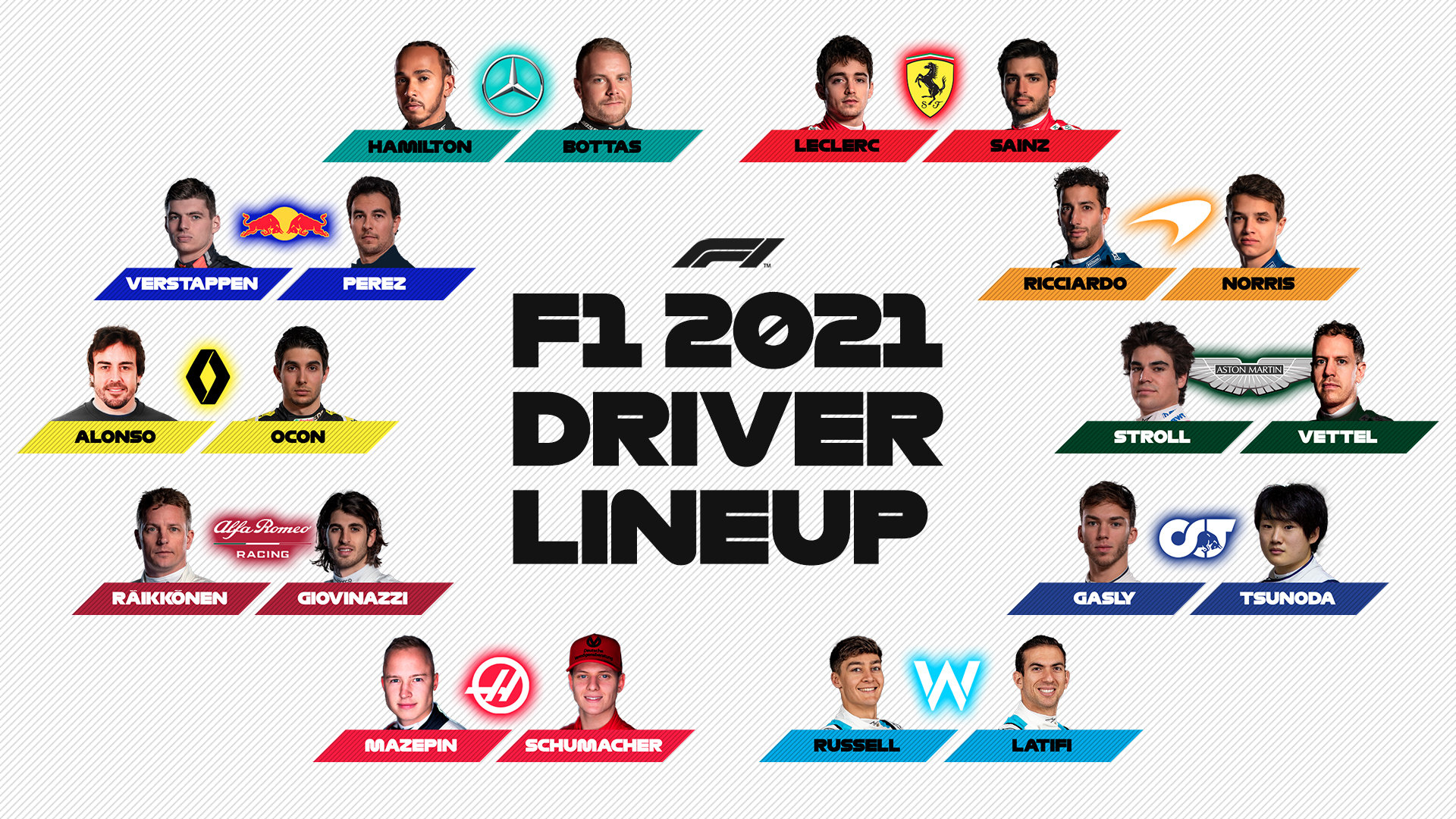 Collection! F1 driver lineups for 2021