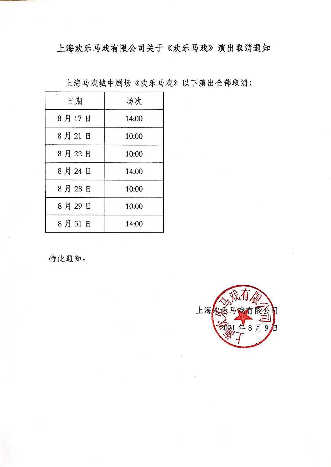 上海马戏城欢乐马戏取消