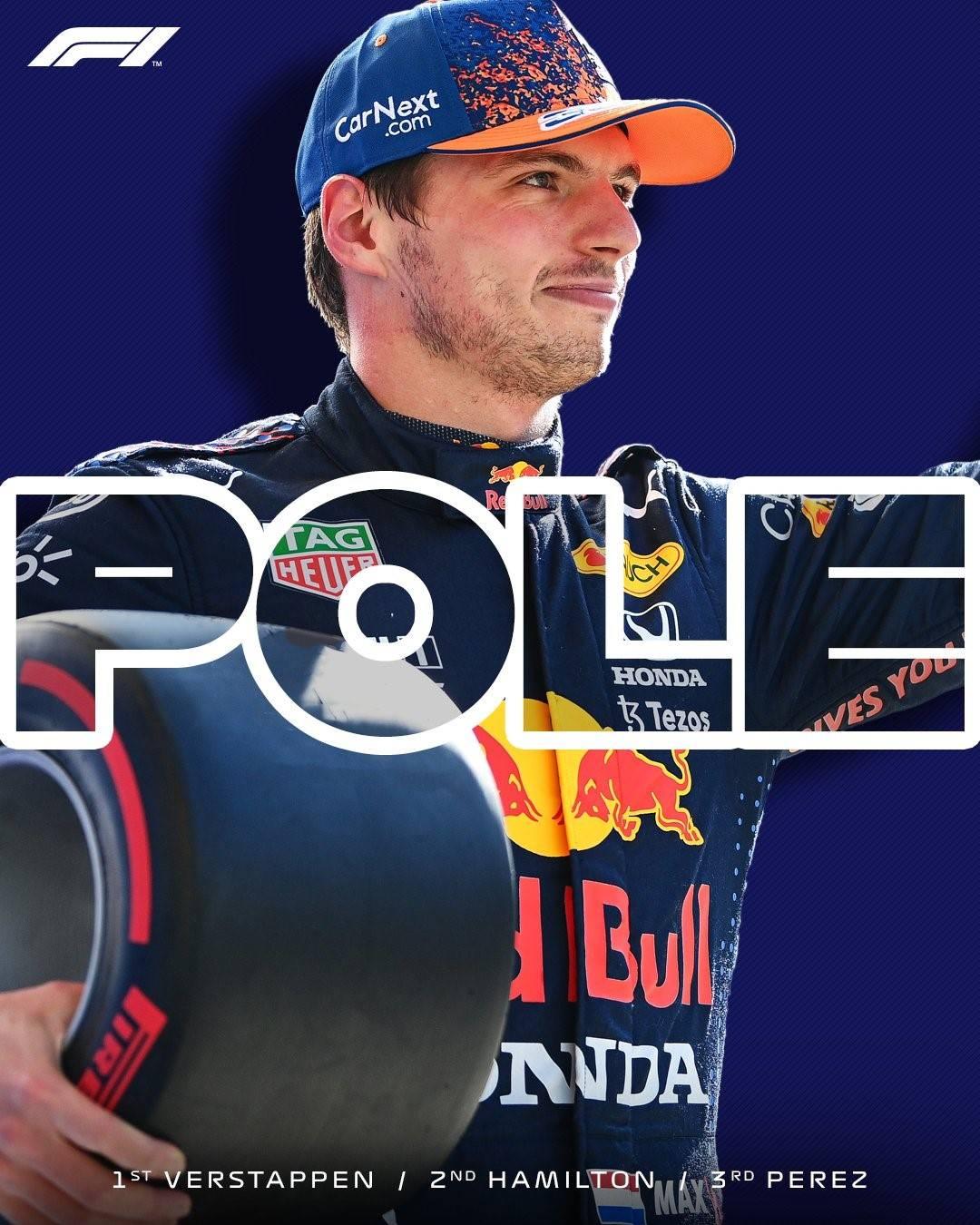 维斯塔潘夺F1美国站排位赛杆位,汉密尔顿第二